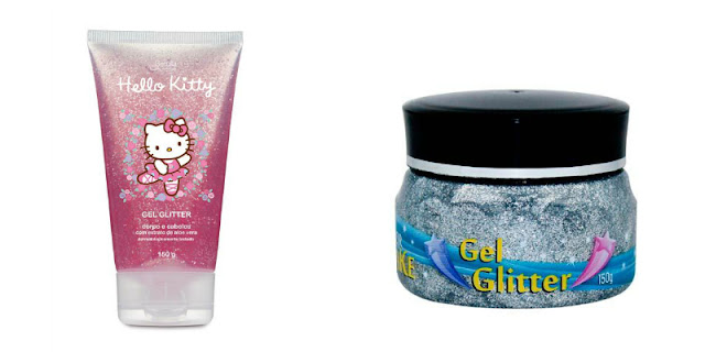 gel com glitter cabelo hello kitty