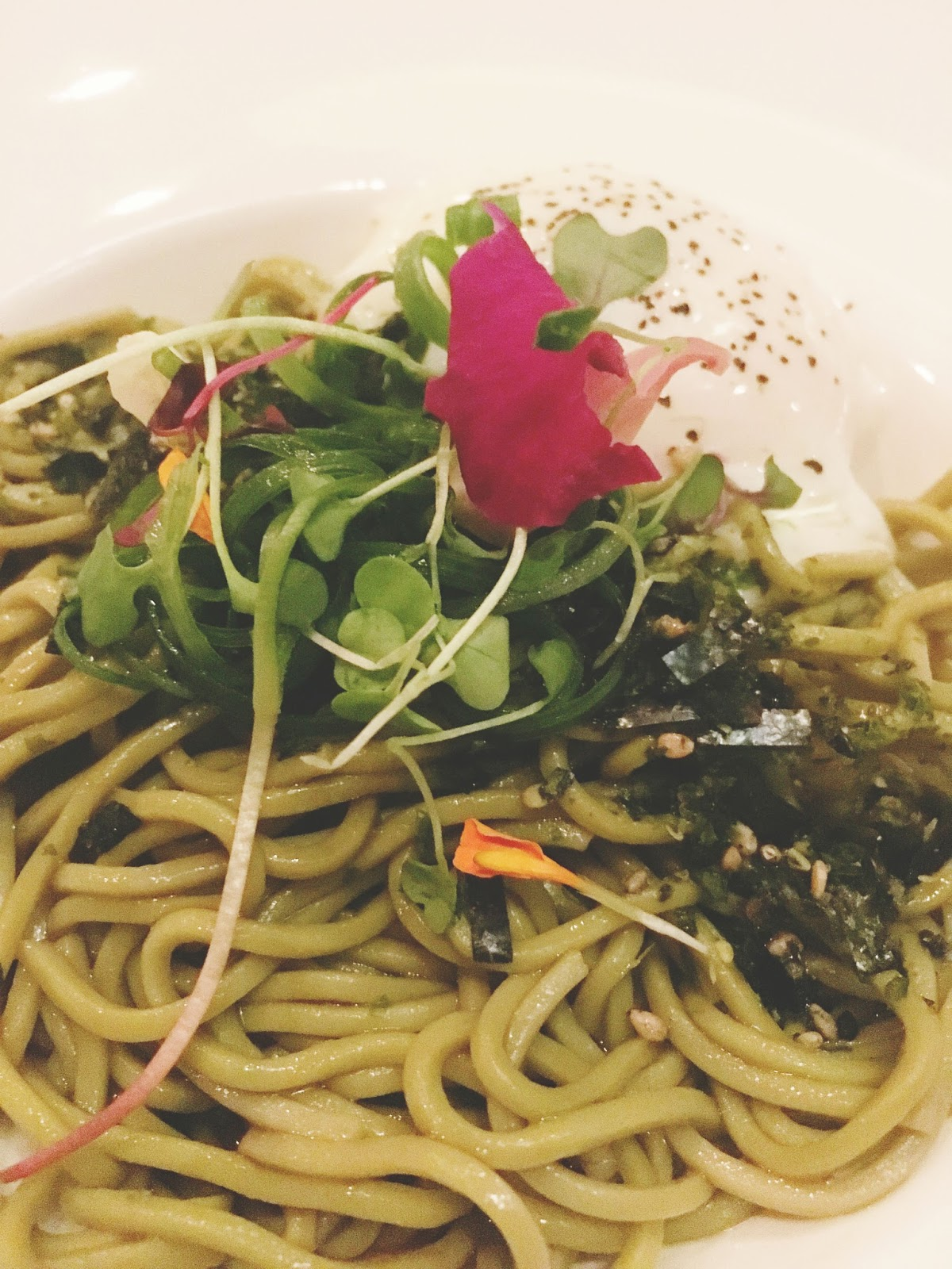 green tea soba noodles at ka sushi, a restaurant in Houston, Texas