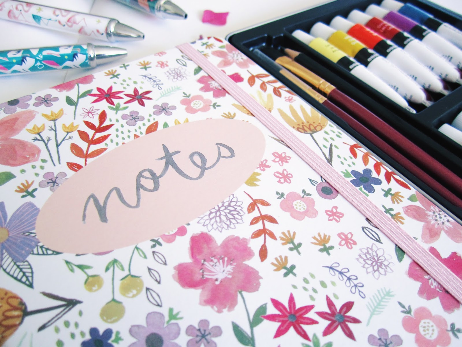 floral notebook planner, watercolour notebook cover