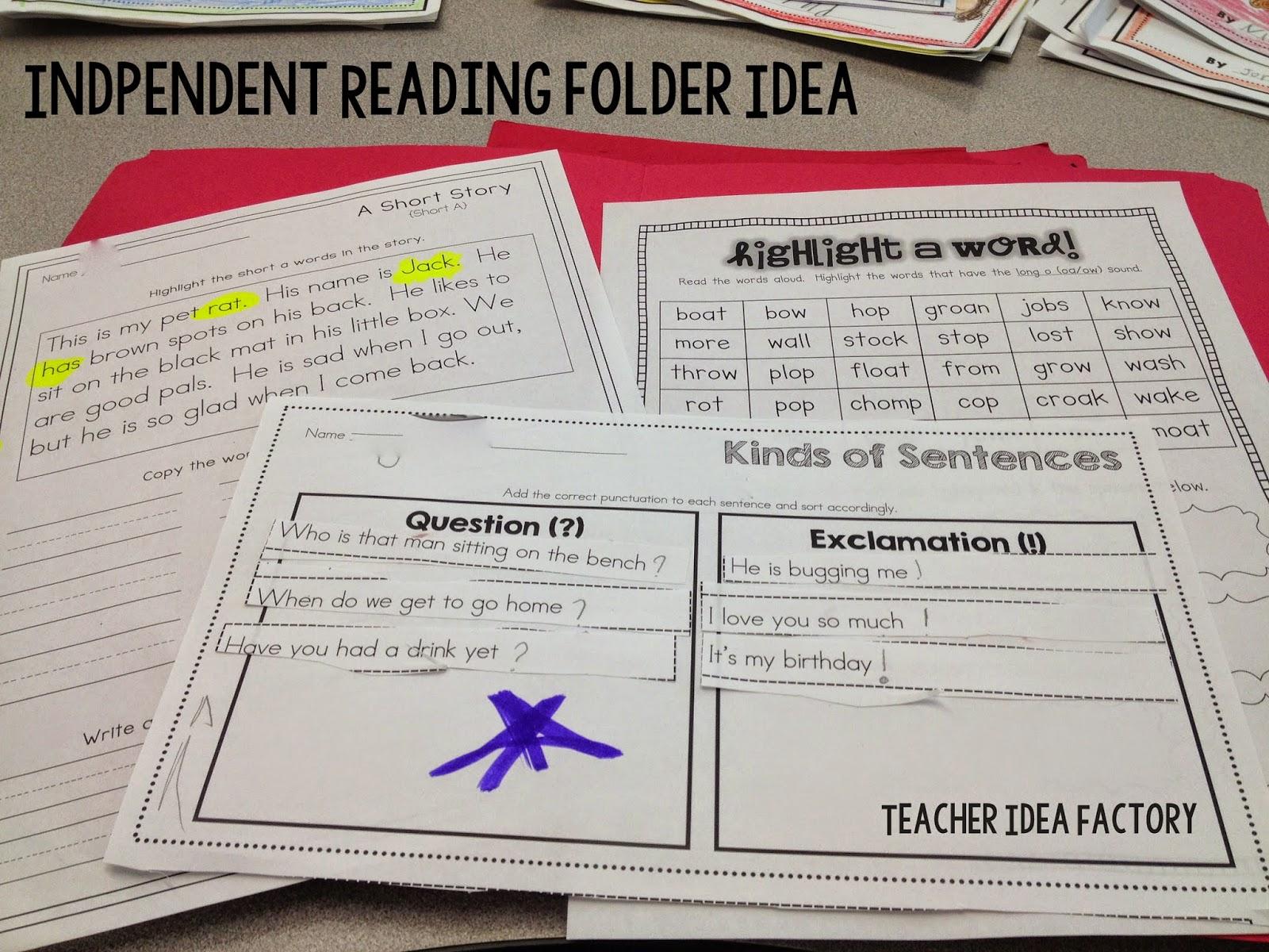 Teacher Idea Factory Independent Work Folders
