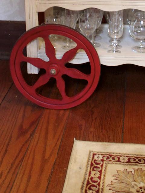 bar cart wheel close-up