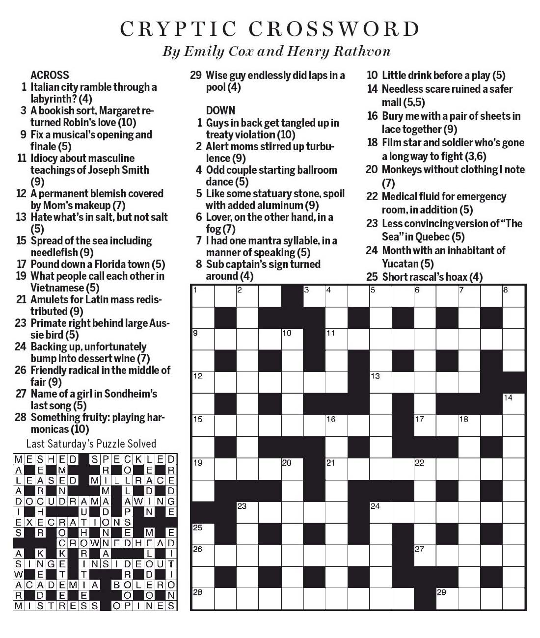 National Post Cryptic Crossword Forum Saturday May 6 2017 Mmmm
