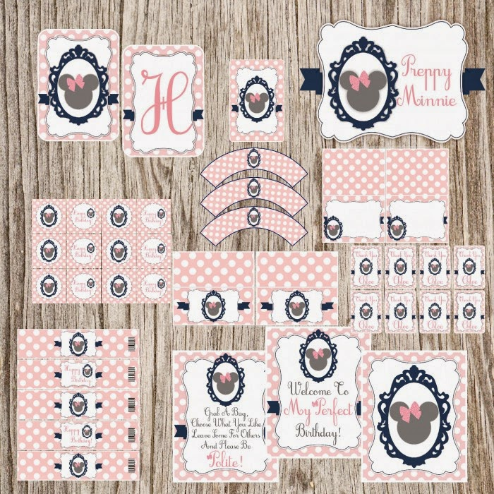 Sweet and Elegant Minnie with Pink Polka Dots Free Printable Party Kit.