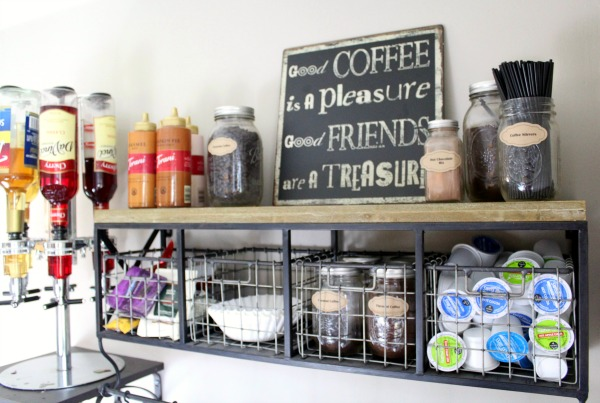 Create your own coffee station in 5 easy steps: Use baskets to organize your coffee accessories