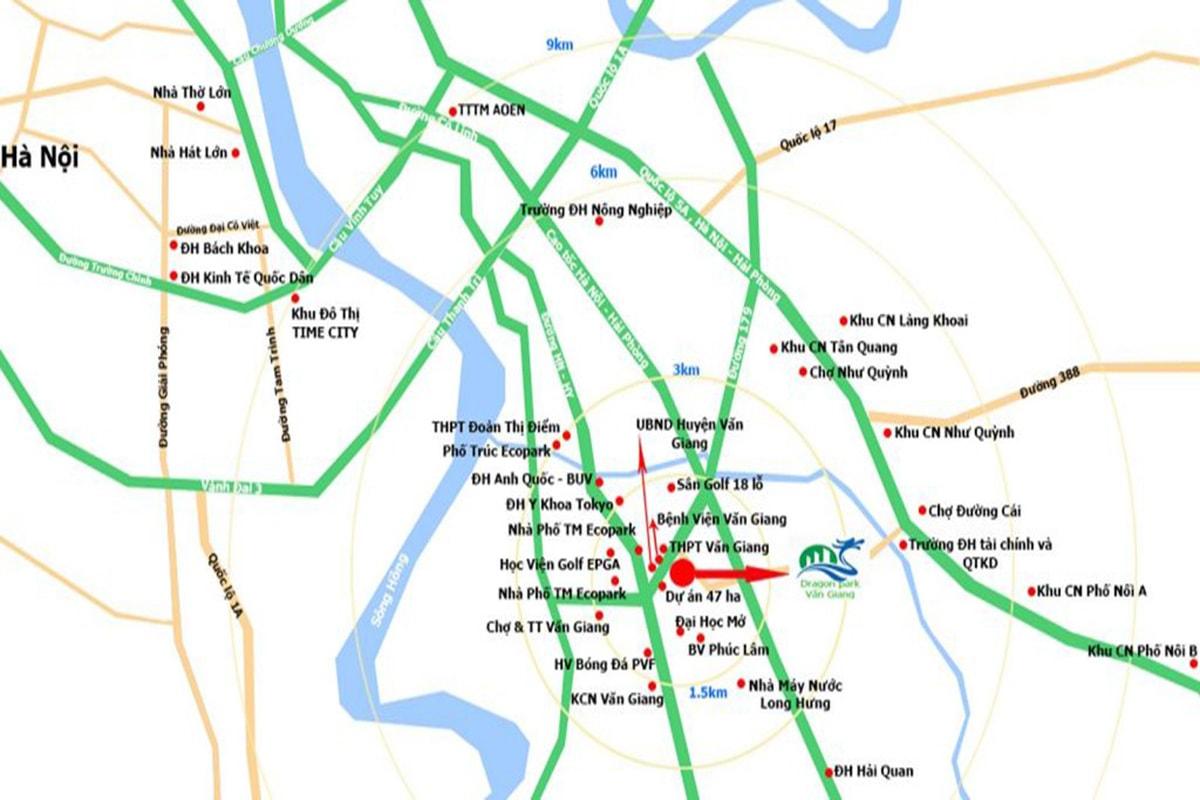 Vị trí dự án Dragon Park Văn Giang