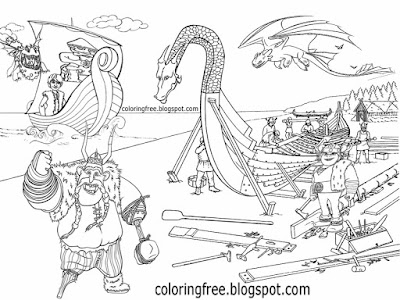 Art fantasy warrior magical land longboat drawing designs Viking dragon ship coloring pages for kids