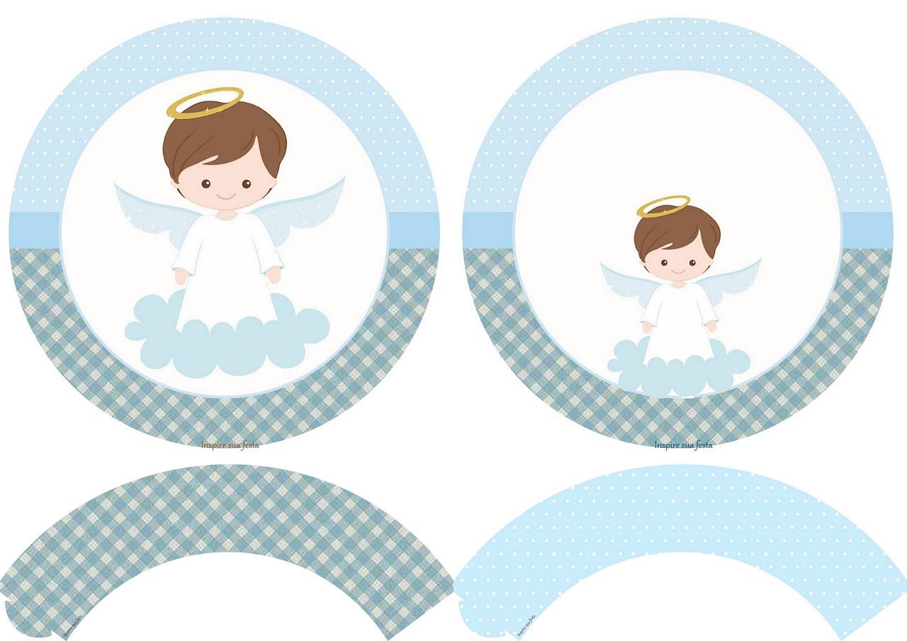 Kit de angelito en celeste toppers y wrappers para cupcakes para imprimir gratis oh my - Etiquetas comunion para imprimir en casa gratis ...