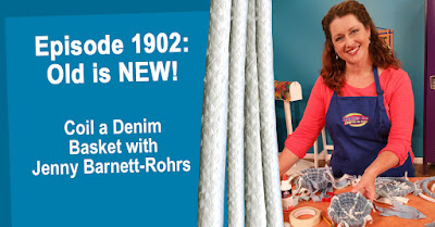 Coil denim baskets with Jenny Barnett-Rohrs on Hands On Crafts for Kids.