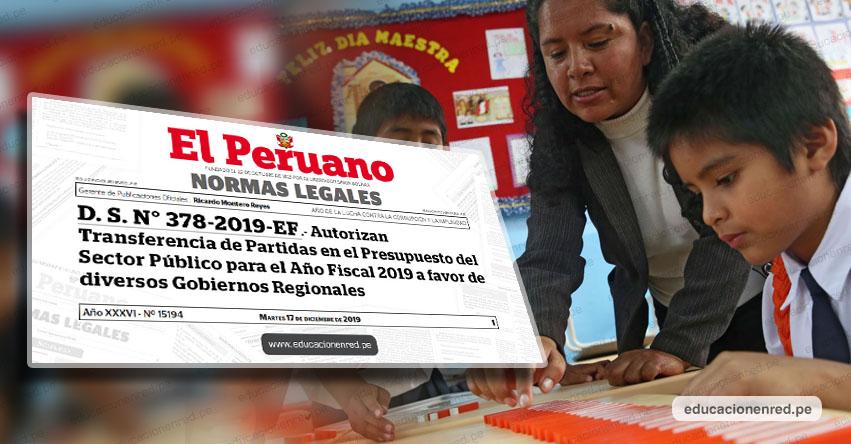 Autorizan transferencia de 74 millones a regiones para pagar beneficios a docentes y auxiliares. Toda la información aquí (D. S. N° 378-2019-EF)