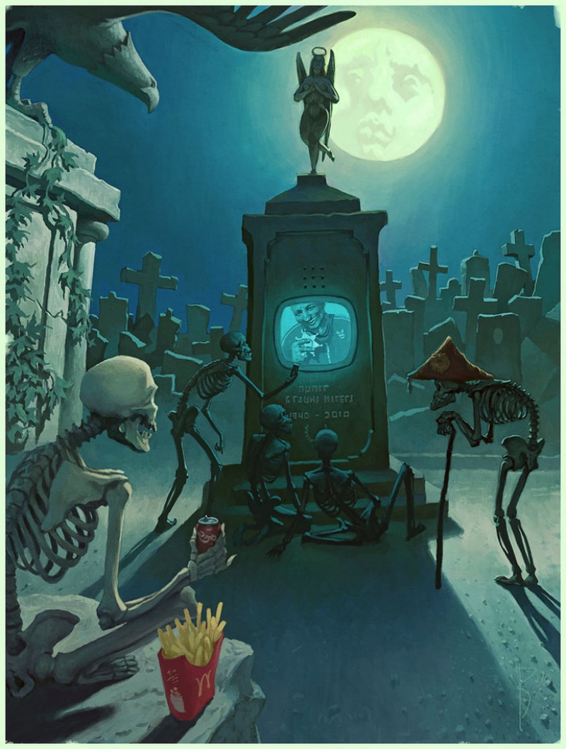 15 Satirical Paintings Perfectly Illustrate The Insanity Of Modern Day Society - A modern cemetery