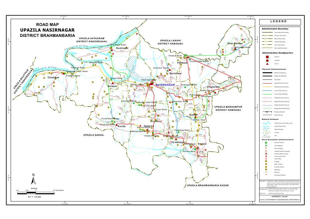 Nasirnagar Upazila Road Map Brahmanbaria District Bangladesh