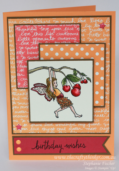 Stampin up, #thecraftythinker, Fairy Celebration, Girls birthday card, watercolouring, Stampin Up Australia Demonstrator