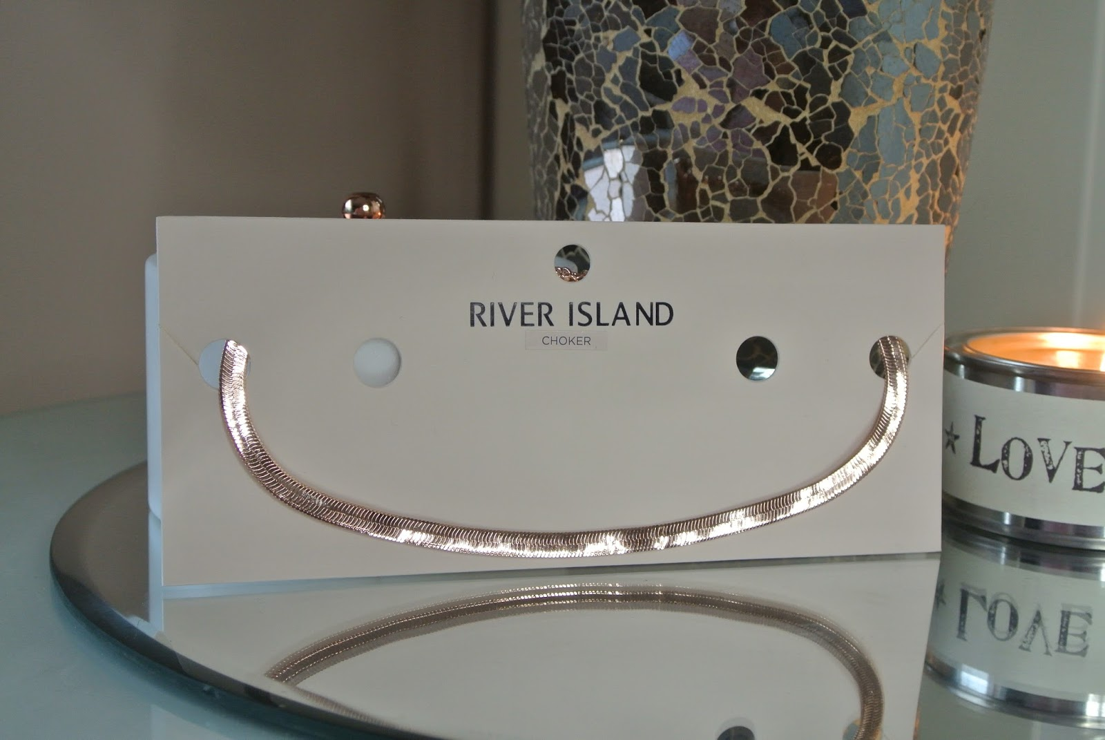 River Island Rose gold chain choker Image