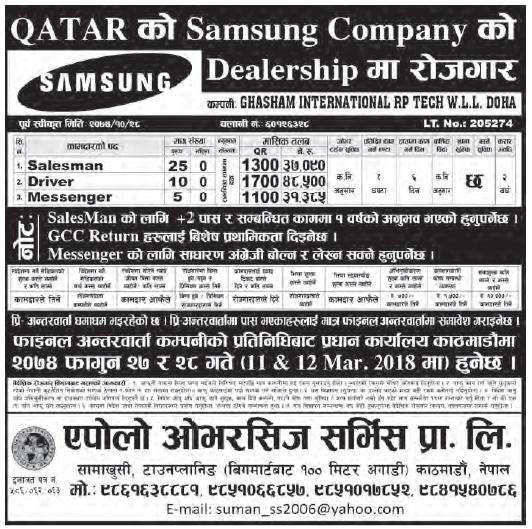 Jobs in Qatar for Nepali, Salary Rs 48,500