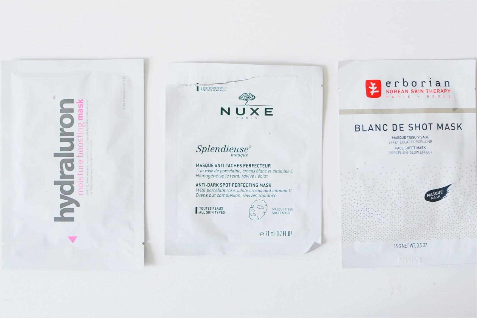 sheet masks hydraluron nuxe erborian