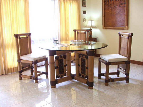 bamboo dining room furniture | Modern Bamboo Houses Interior and Exterior Designs
