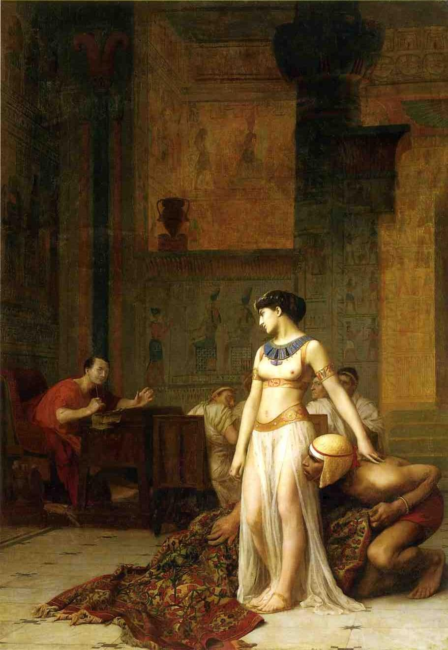 Cleopatra confronts Julius Caesar in this 1866 painting.
