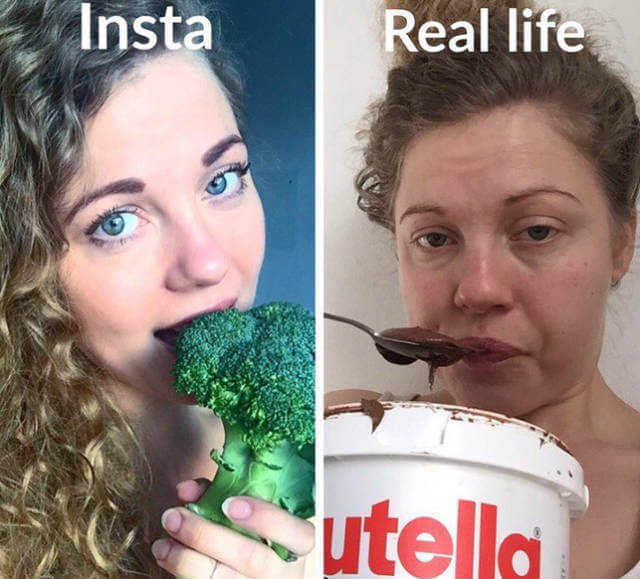 15 Hilarious Pictures That Show The Reality Behind Social Media Profiles - Broccoli versus Nutella