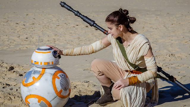 Rey cosplay from The Force Awakens