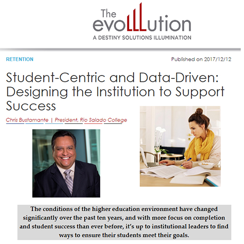 Snapshot of EvoLLLution web page with article in question: Student-Centric and Data-Driven: Designing the Institution to Support Success.  Image of an online female student studying at a kitchen table.  Image of Dr. Bustamante.