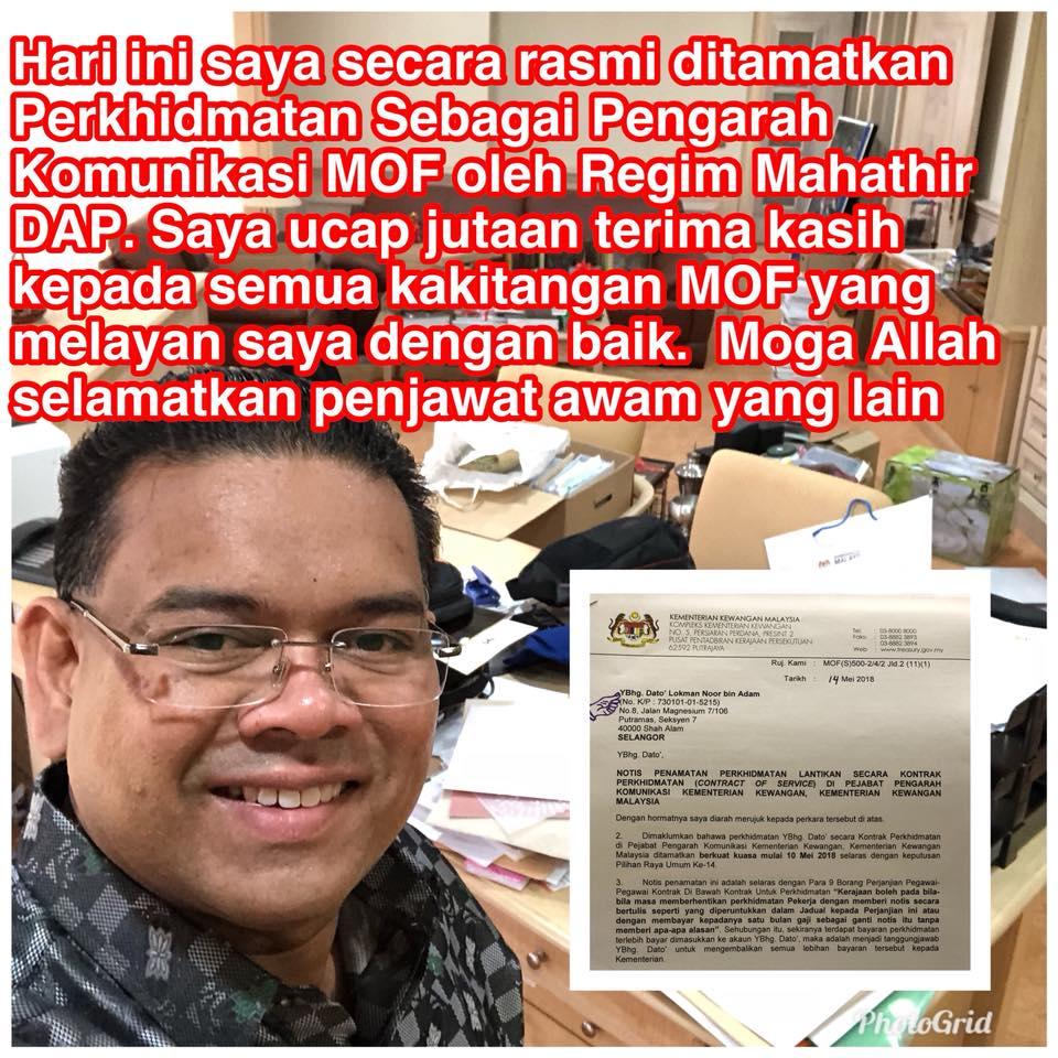 'Perkhidmatan saya ditamatkan oleh rejim Mahathir DAP' - Ahli UMNO Yang Juga Penyokong Setia Najib Meroyan Kontraknya Ditamatkan MOF