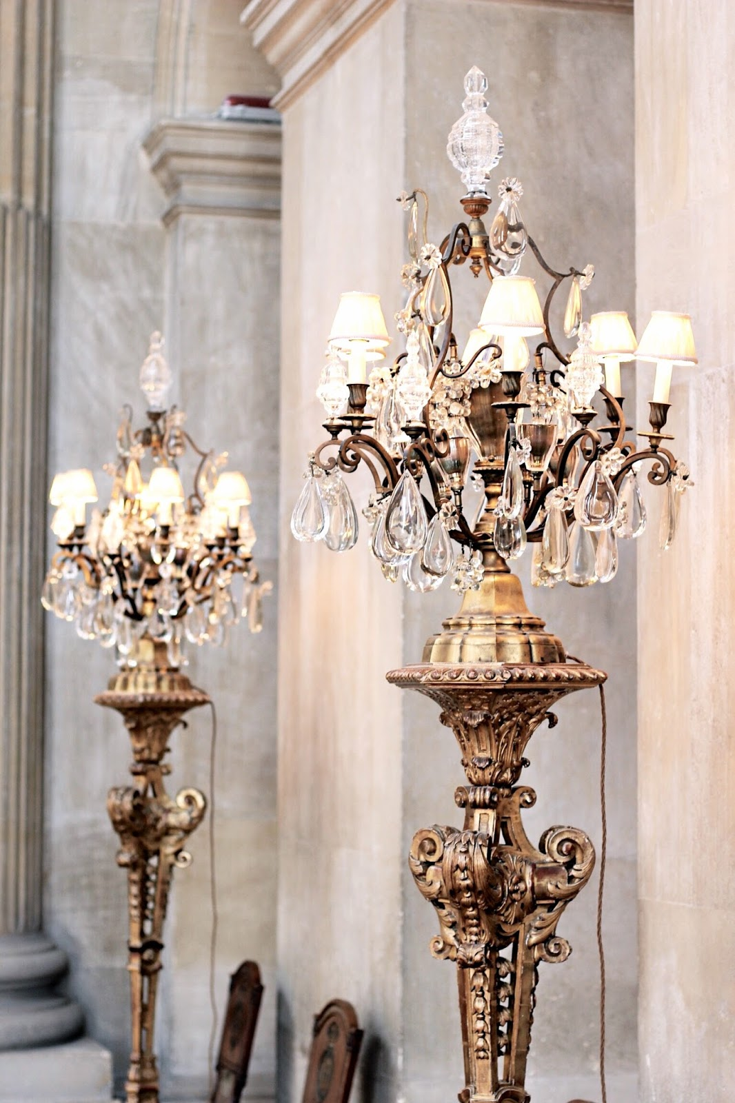 Tall Gold Historic Floor Lamps