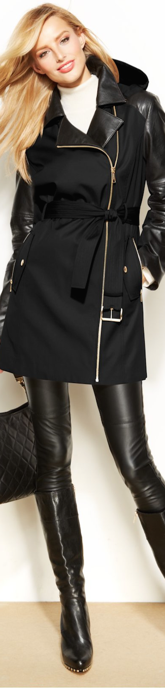 Michael Kors Mixed media hooded trench