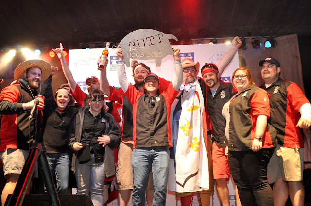 The Bacon Rouge team celebrates the Pork Butt victory at Hogs for the Cause 2015
