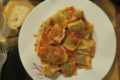 Homemade ravioli in meat sauce. Osteria Luchin in Chiavari, Liguria.