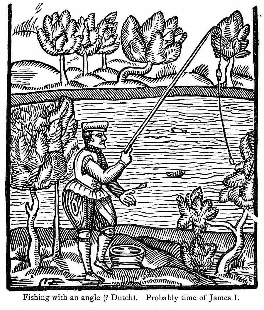 1600 Fishing time of James 1, a Dutch woodcut