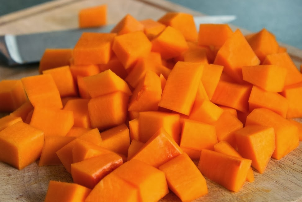 Cubed Butternut Squash for Thai Squash Soup
