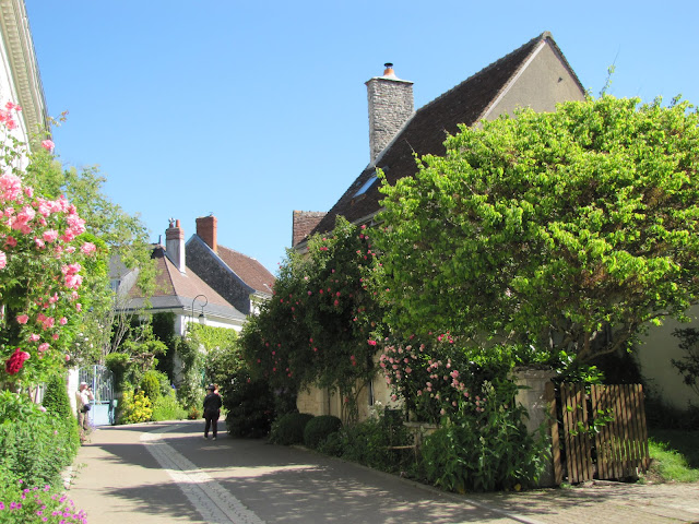 Chedigny in the Loire Valley showing a street with rose bushes axorning the houses