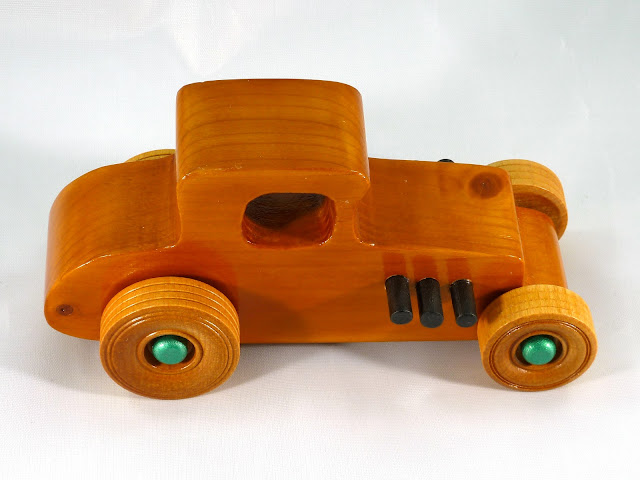 Top Right Side - Wooden Toy Car - Hot Rod Freaky Ford - 37 T Coupe - Pine - Amber Shellac - Metallic Green Hubs