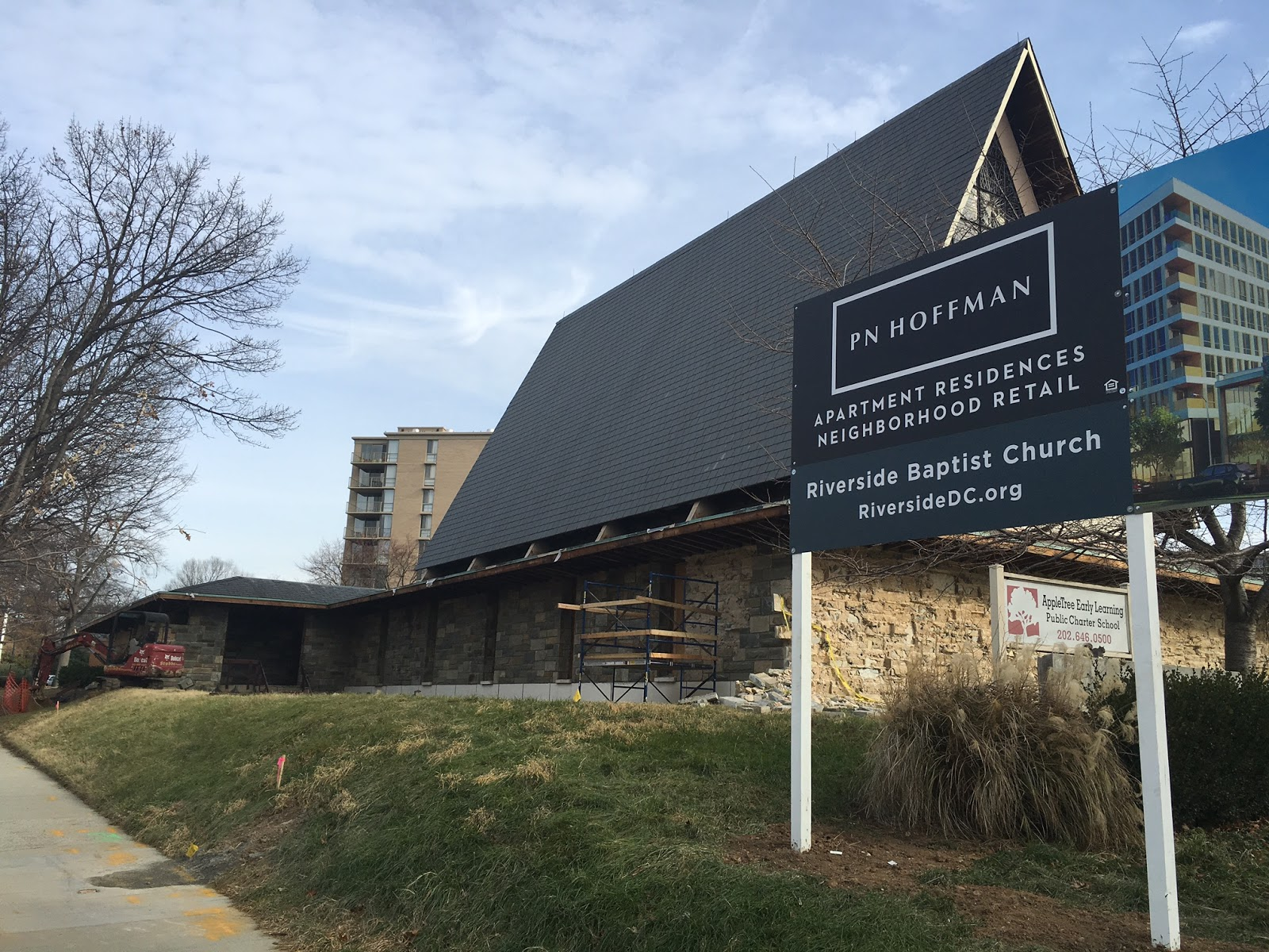 Part Of The Exterior Of Riverside Baptist Church Is Being Removed In  Preparation For Demolition (a Demolition Permit Was Submitted Back In  September).