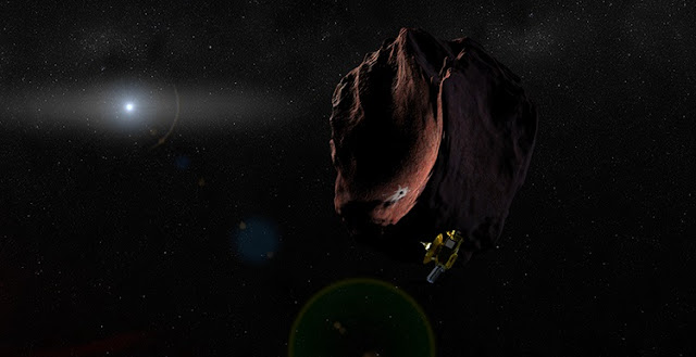 Artist's impression of the New Horizons spacecraft encountering a Kuiper Belt Object, as part of a potential extended mission after the Pluto flyby. Credit: Johns Hopkins University Applied Physics Laboratory/Southwest Research Institute (JHUAPL/SwRI)
