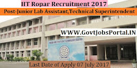 IIT Ropar Recruitment 2017– Junior Technical Superintendent, Junior Lab Assistant
