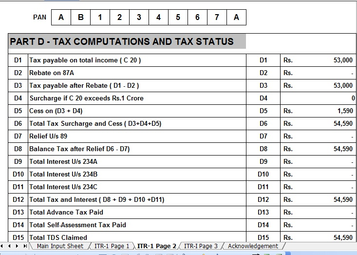 Income Tax Return Format In Excel Image Gallery - Hcpr