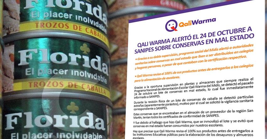 QALI WARMA: Programa social alertó el 24 de octubre a SANIPES sobre conservas en mal estado - www.qaliwarma.gob.pe