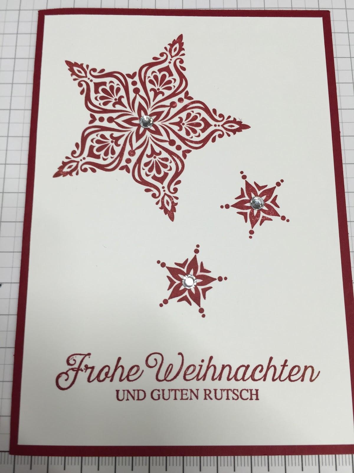Weihnachtskarten Mit Sternen Basteln.Ninas Stempelzauber Weihnachtskarten Basteln In Der Schule