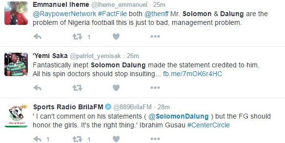 Nigerians blast Solomon Dalung for saying FG didn't expect Falcons to win AWCON