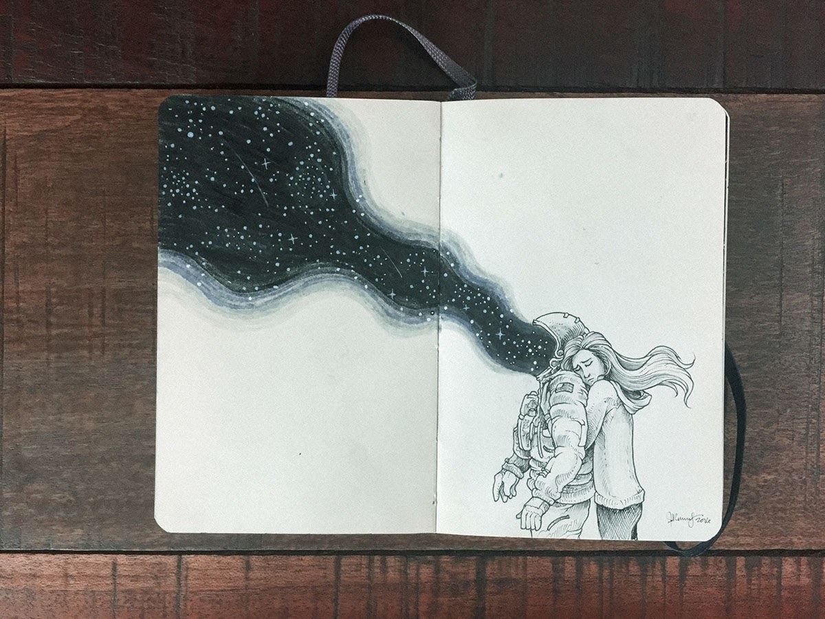 08-Love-Transcends-Space-and-time-Kerby-Rosanes-Detailed-Moleskine-Doodles-with-many-Whales-www-designstack-co