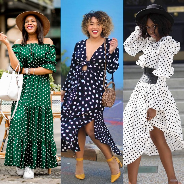 polka-dot trend,off shoulder, dress, monochrome