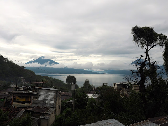 View from the homestay bedroom window, looking over San Jorge La Laguna and Lake Atitlan, Guatemala