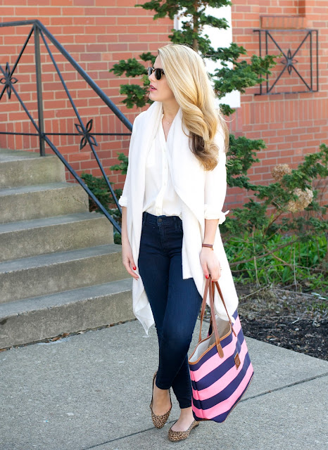 white and warren cashmere wrap, j.crew silk shirt, true religion halle skinny jeans and barrington gifts tote