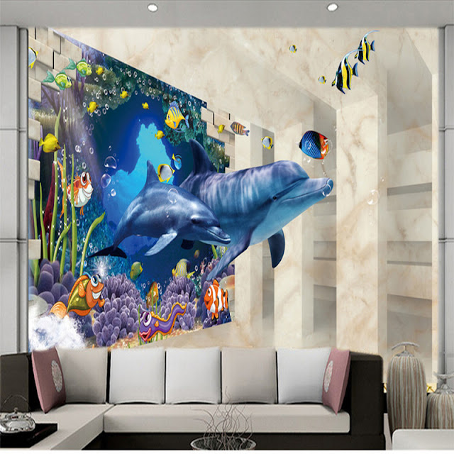 Dolphin Wall Mural 3D Livingroom Coral Reef
