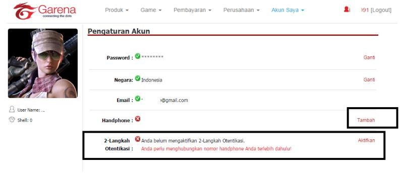 point blank garena ganti password