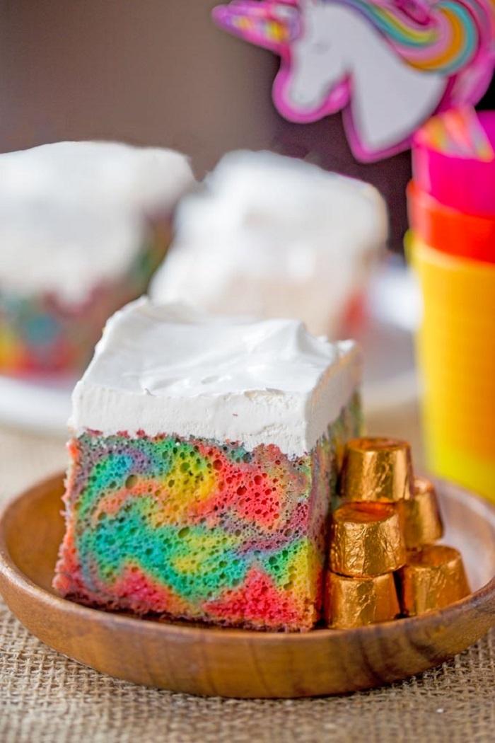 Rainbow Poke Cake with Whipped Cream