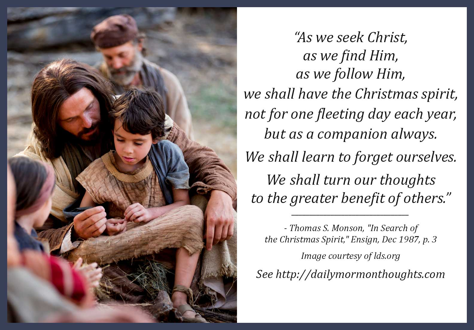 Daily Thought from LDS Leaders: Thomas S. Monson on the Christmas ...