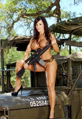 Army girl with a gun