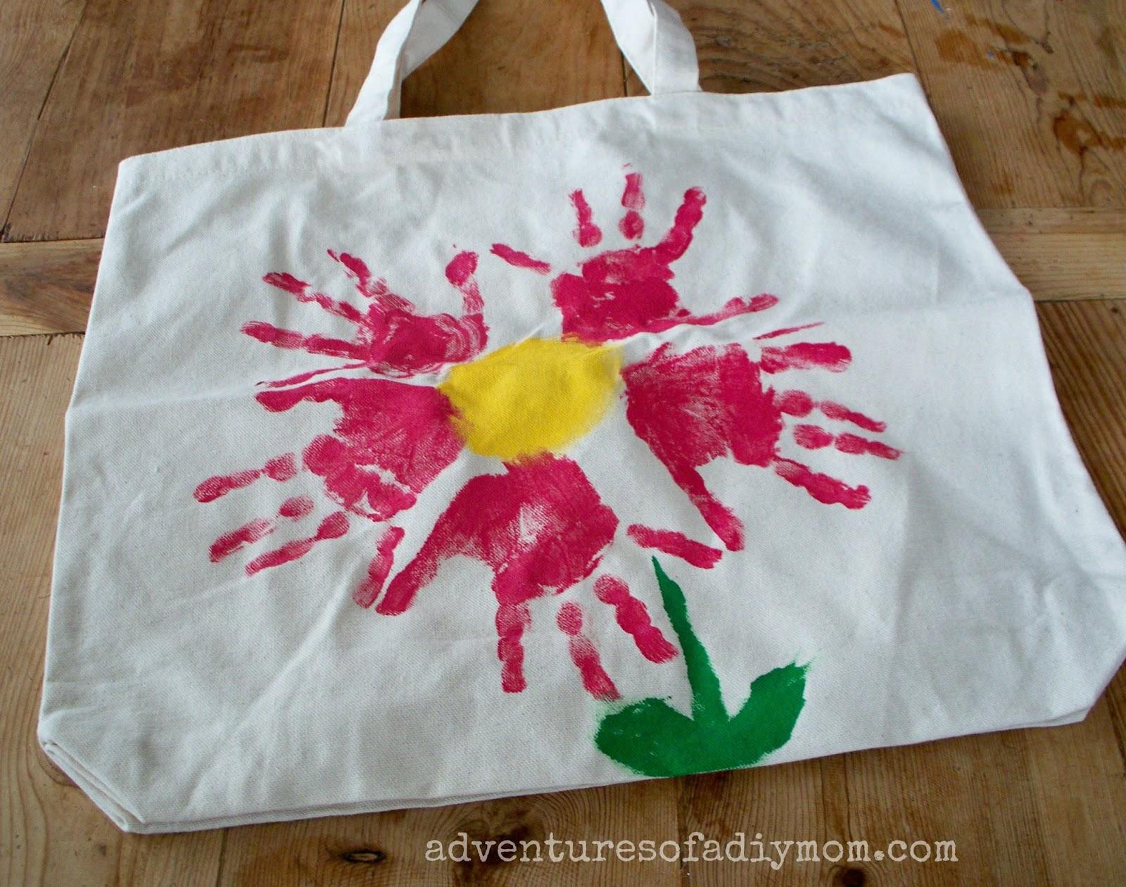 Flower Handprint Canvas Bag
